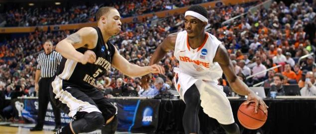 Western Michigan defending during game against Syracuse.