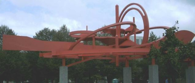 The 'Turning Points' sculpture at Wright State University.